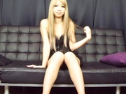 Blonde Asian babe Reona Aizawa fucks herself with toys