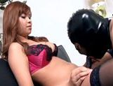 Beautiful chick in black stockings fucks guy with strap-onasian anal, hot asian pussy}