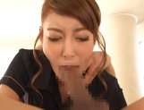 Hot masseuse, Kirara Asuka  gives a sizzling Asian blowjob and swallows