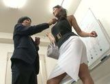 Reiko Kobayakawa big boobed Japanese model gives double blowjob picture 7