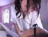 Horny nurse in white pantyhose Yui Tatsumi gives a wild riding