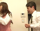 Hot office babe Kana Otowa jerks off cock and gives head picture 11