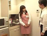 Hot office babe Kana Otowa jerks off cock and gives head picture 9