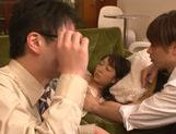 Naughty Japanese seductress Chika Haruno is teased by two guys picture 12