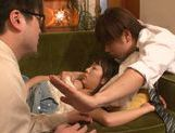Naughty Japanese seductress Chika Haruno is teased by two guys picture 13