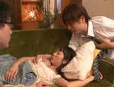 Naughty Japanese seductress Chika Haruno is teased by two guys picture 14