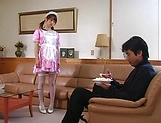 Horny maid Hikaru Hozuki gives a sizzling blowjob picture 2