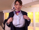 Gorgeous stewardess Mio Takahashi rides impressive dicks picture 12