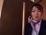 Gorgeous stewardess Mio Takahashi rides impressive dicks picture 1