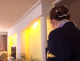 Gorgeous stewardess Mio Takahashi rides impressive dicks picture 2