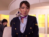 Gorgeous stewardess Mio Takahashi rides impressive dicks picture 6