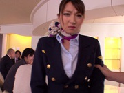 Gorgeous stewardess Mio Takahashi rides impressive dicks