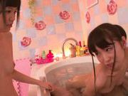 Yummy babes Kana Aono and Minami Hirahara ride cock