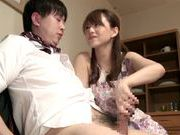 Cock-starved housewife Akiho Yoshizawa jerks off dickasian schoolgirl, young asian}