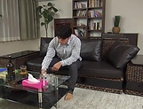 Harsh fuck on the couch with young Asian, Hitomi Inoue