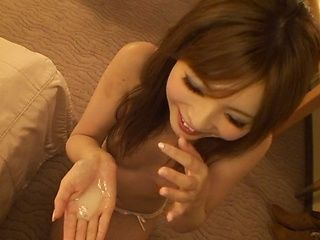 Horny milf Rina Kato engulfs cock of her boyfriend after taking a shower