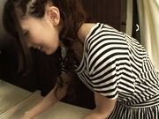 Yui Hatano Asian teen gives a hot double blowjob