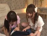 Asian babes Akiha Yoshizawa and Saki Kouzai share hard rod picture 11