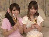 Asian babes Akiha Yoshizawa and Saki Kouzai share hard rod