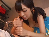 Beautiful Arisa Fujii in raunchy handjob scene indoors picture 15