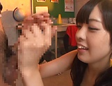 Beautiful Arisa Fujii in raunchy handjob scene indoors picture 8