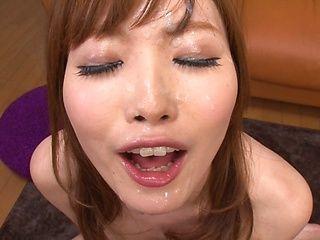 Glorious redhead milf Rina Kato deepthroats cock on pov
