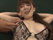 Sugary Asian milf Yui Hatano gives hot blowjob gets drilled by toys