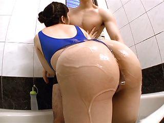 Nana Okamota slides a stiff dildo n her cunt