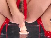 Charming Shinoda Ayumi bounces ass on stiff toy