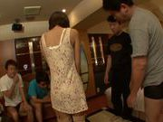 Peachy Japanese gal Azusa Watabe in a kinky group action