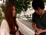 Sexy Asian redhead teen with small tits enjoys pussy stimulation