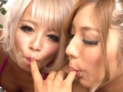 Superb sweeties Reika Aiba and naughty friends ride cock get creamed