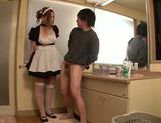 Pretty Asian maid Ai Sayama enjoys a titfuck session