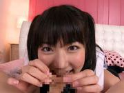 Horny Asian teen Kana Yume makes adorable licking on POV