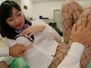 Naughty milf in fishnet stockings Kana Yume gets pussy drilled and plowed