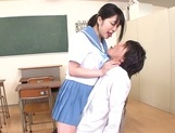 Kinky Asian schoolgirl Erika Kitagawa, is fond of cock teasing action picture 13