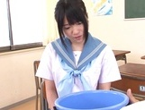 Kinky Asian schoolgirl Erika Kitagawa, is fond of cock teasing action picture 1