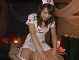 Horny cosplay action with Asian Shino Kuraki giving blowjob
