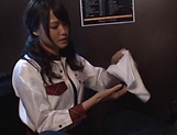 Hot schoolgirl Ai Yuzuki gives a sizzling blowjob picture 2