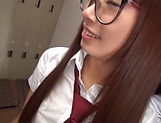 Asian minx in school uniform Miina Arimura gives head