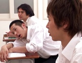 Spicy teacher Yui Tatsumi gang banged after class