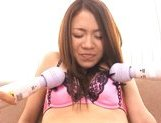 Shelly Fuji Asian babe sucks cock while she is getting poked by a dildo