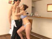 Frisky Japanese milf gives a handjob and sucks rod
