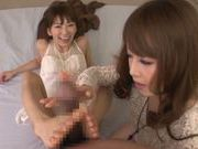 Steaming chicks Akiha Yoshizawa and Saki Kouzai get screwed