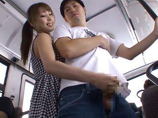 Stunning babe Shunka Ayami gives hubby a handjob on a bus