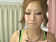 Blonde Japanese Aika enjoys a large cock