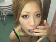 Blonde Japanese Aika enjoys a large cockasian schoolgirl, asian babe}