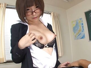 Busty Asian teacher teases and sucks a huge dong