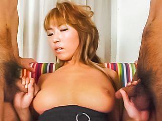 Elegant Asian hottie, Megu Hagiwara, with big tits enjoys hand work and dildo in pussy