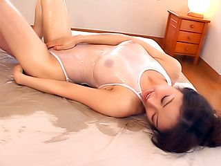 Hot milf in transparent lingerie Akane Nagase enjoys anal sex